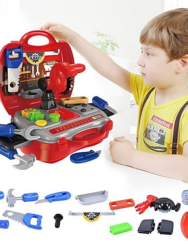 voordelige Speelgoedgereedschap-Gereedschapskisten Simulatie / Ouder-kind interactie Plastic omhulsel Peuter Geschenk 19 pcs