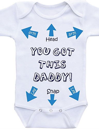 preiswerte Mode für Jungs-Baby Jungen Grundlegend Alltag Druck Print Kurze Ärmel Baumwolle Body Weiß
