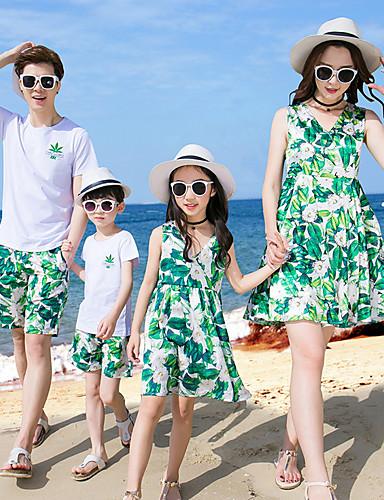 preiswerte Frische Palmenprints-Familienblick Grundlegend Strand Geometrisch Kurzarm Kleid Grün