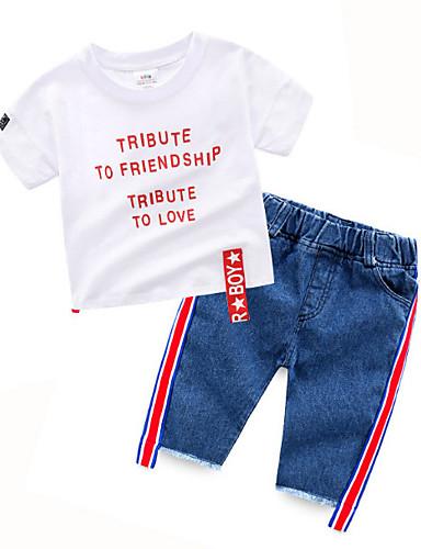 preiswerte Mode für Jungen-Baby Jungen Aktiv Druck Kurzarm Kleidungs Set Weiß