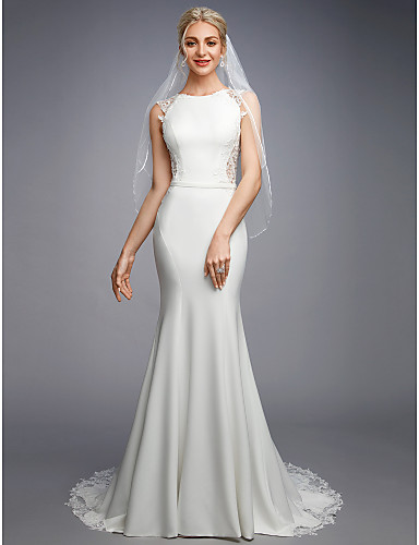 cheap Wedding Dresses-Mermaid / Trumpet Bateau Neck Court Train Chiffon / Lace Regular Straps Sexy Illusion Detail / Backless Wedding Dresses with Lace / Buttons / Appliques 2020