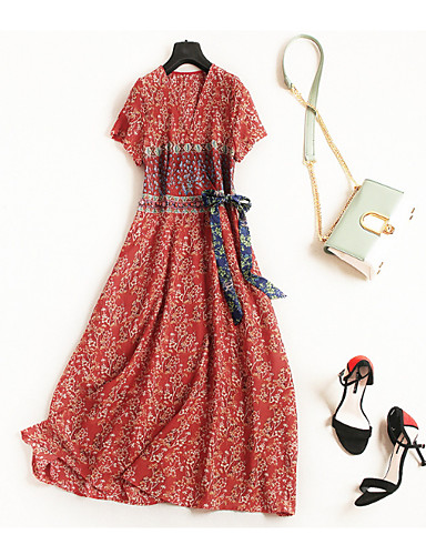 aae107c6316 Women s Going out Basic Cotton Slim T Shirt   Swing Dress - Polka Dot    Geometric Beaded   Ruched   Lace up High Waist V Neck   Fall   Print  6720233 2019 – ...