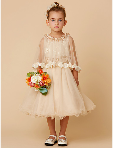 98361b95e660 A-Line Knee Length Flower Girl Dress - Lace / Tulle Half Sleeve Jewel Neck  with Bow(s) / Sash / Ribbon / Flower by LAN TING BRIDE® #04978870