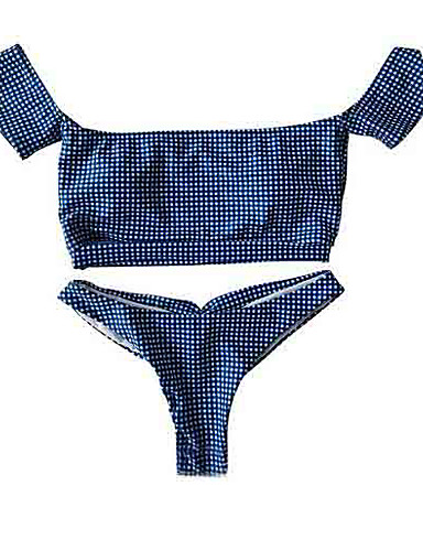 preiswerte Bikinis-Damen Trägerlos Blau Cheeky-Bikinihose Bikinis Bademode - Schachbrett M L XL Blau / Sexy
