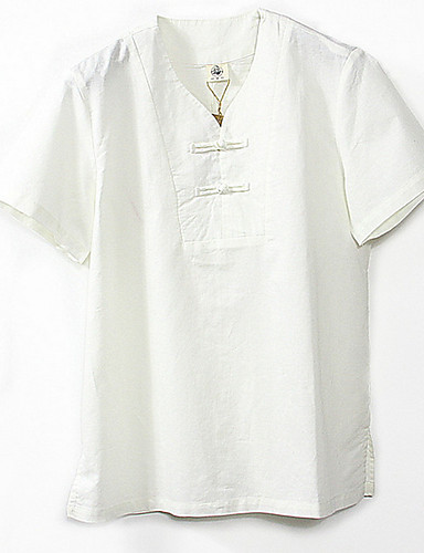voordelige Heren T-shirts & tanktops-Heren T-shirt Linnen Effen V-hals Wit / Korte mouw