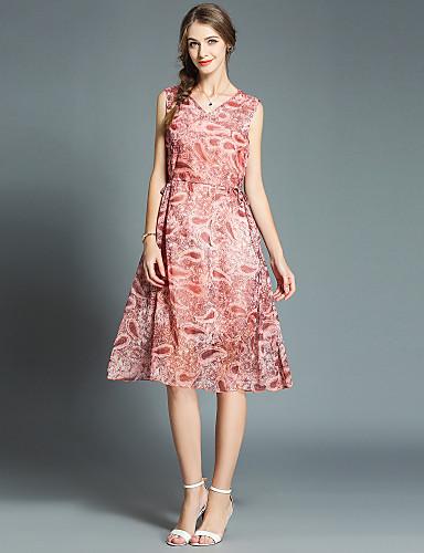 Mujer Chic de Calle   Sofisticado Gasa Vestido - Estampado eaadafb4d00d