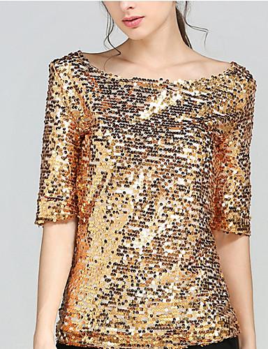 billige Dametopper-Løse skuldre / Båthals Store størrelser T-skjorte Dame - Ensfarget, Åpen rygg / Perler Grunnleggende Ut på byen Gull / Sommer / Paljetter