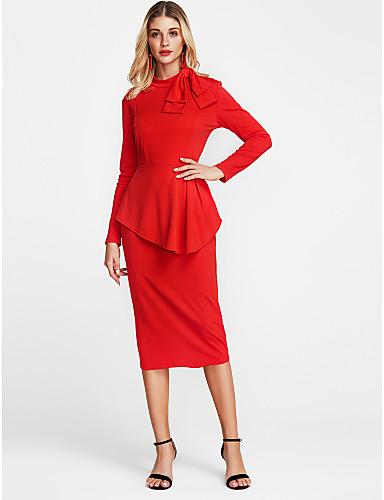 levne Pracovní šaty-Dámské Jdeme ven Vypasovaný Pouzdro Šaty - Jednobarevné, Mašle Nad kolena Tričkový Červená