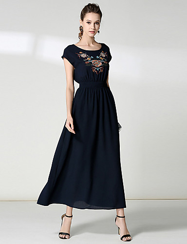 voordelige Maxi-jurken-Dames Feestdagen / Uitgaan Street chic Wijd uitlopend Jurk - Bloemen, Geborduurd Maxi Hoge taille / Hoge taille