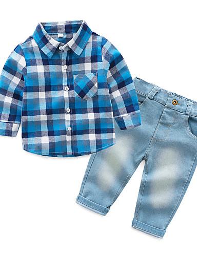 preiswerte Babykleidung-Set-Baby Jungen Aktiv Party / Alltag Schachbrett Langarm Standard Kleidungs Set Rote