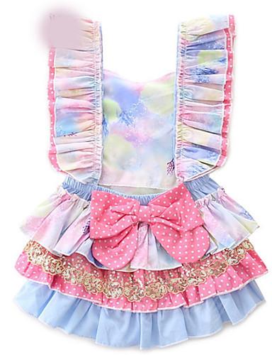preiswerte Schleifen-Mädchenkleidung-Baby Mädchen Grundlegend Solide Ärmellos Einzelteil Blau