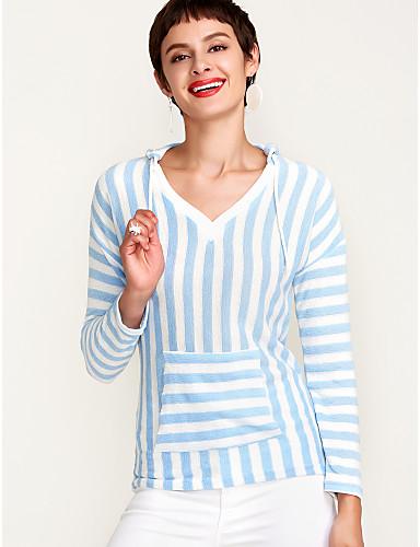 billige Dametopper-V-hals Polo Dame - Stripet, Grunnleggende Svart / fin Stripe