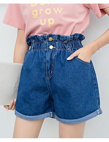 4ac8145abb98 Dame Aktiv Store størrelser Bomull Jeans Bukser - Ensfarget BLå   Hvit