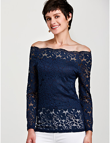 billige Skjorter til damer-Båthals Store størrelser Skjorte Dame Hvit / Blonder