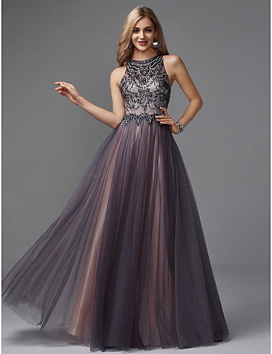 b481b7c8aec A-Line Jewel Neck Floor Length Tulle Keyhole Prom   Formal Evening Dress  with Beading by TS Couture® 6676630 2019 –  159.99