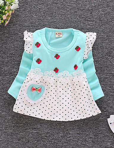 preiswerte Kleider mit Spitze für Mädchen-Baby Mädchen Aktiv Alltag / Ausgehen Punkt / Druck Langarm 50-60 cm Baumwolle Kleid Gelb
