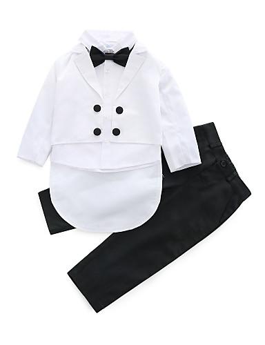 preiswerte Babykleidung-Set-Baby Jungen Aktiv Party / Geburtstag Solide Langarm Standard Kleidungs Set Weiß