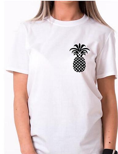 billige T-skjorter til damer-Bomull Tynn Store størrelser T-skjorte Dame - Ensfarget / Frukt, Trykt mønster Grunnleggende Ut på byen Hvit / Sommer