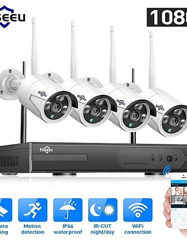 cheap Security & Safety-Hiseeu® 1080P Wireless CCTV System HDD 2MP 4CH Powerful NVR IR-CUT Waterproof CCTV Camera IP Security System Surveillance Kits Remote Viewing Day Night Motion Detection