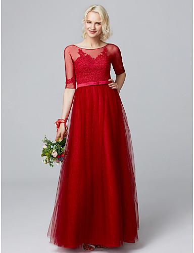 ราคาถูก Bridesmaid Dresses-A-line คอซอง ลากพื้น ลูกไม้ / Tulle / ปักด้วยดอกทิวลิป เพื่อนเจ้าสาวชุด กับ เข็มกลัด / ริบบิ้น โดย LAN TING BRIDE®