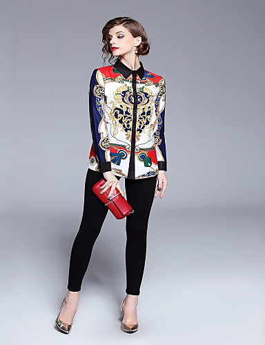 billige Dametopper-Skjortekrage Skjorte Dame - Geometrisk, Trykt mønster Grunnleggende