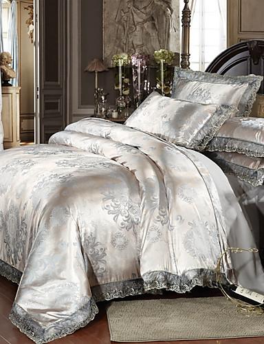 billige Tekstil til hjemmet-Sengesett Luksus Polyester Trykket & Jacquard 4 delerBedding Sets / 300 / 4stk (1 Dynebetræk, 1 Lagen, 2 Pudebetræk)