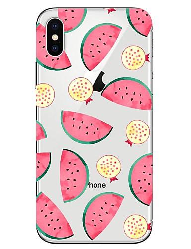 Etui Til Apple iPhone X / iPhone 8 Plus / iPhone 8 Gjennomsiktig / Mønster Bakdeksel Mat / Frukt Myk TPU