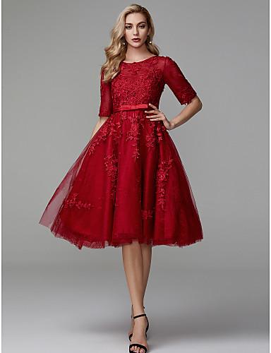 preiswerte Abschlussball-Kleider-A-Linie Schmuck Knie-Länge Spitze / Tüll Cocktailparty / Abiball Kleid mit Applikationen durch TS Couture®
