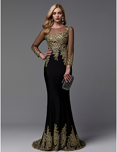 cheap Wedding Dresses-Mermaid / Trumpet Illusion Neck Sweep / Brush Train Spandex / Jersey Sparkle / Black Formal Evening / Wedding Guest Dress with Beading / Appliques 2020