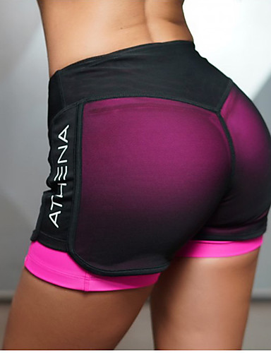 cheap Massive Clearance Sale-Women's Yoga Shorts 2 in 1 With Inner Shorts Bottoms Butt Lift Quick Dry Fuchsia Green Mesh Gym Workout Running Fitness Sports Activewear High Elasticity Slim