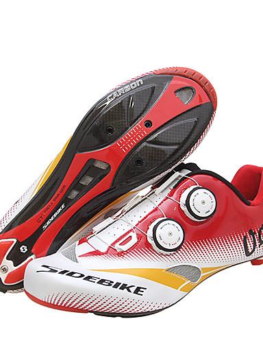 tanie lato rabatu-SIDEBIKE Dla dorosłych Buty na rower szosowy Włókno węglowe Amortyzacja Kolarstwo Czerwony / Biały Męskie Obuwie rowerowe