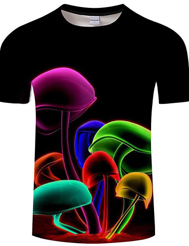 1fc15a33f6a Men s Club Basic   Exaggerated Plus Size T-shirt - Rainbow   Animal Print  Round