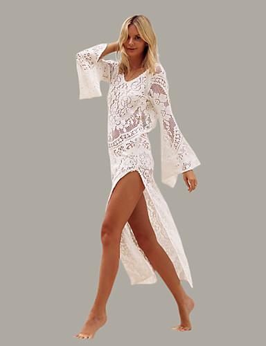 levne Maxi šaty-Dámské Plážové Flare rukáv Štíhlý Pouzdro / Tunika / Swing Šaty Volná záda Maxi Hluboké U / Super Sexy