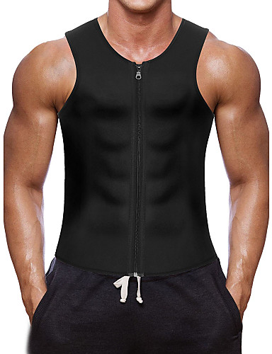 ราคาถูก ลดล้างสต็อกครั้งใหญ่-เสื้อกั๊กเหงื่อ Waist Trainer Vest ถัง Neoprene กีฬา Neoprene โยคะ ฟิตเนส ยิมออกกำลังกาย ซิบเปอร์ ลดน้ำหนัก Tummy Burner ไขมัน สำหรับ สำหรับผู้ชาย Abdomen