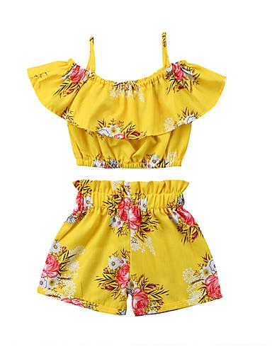 preiswerte Frische Palmenprints-Kinder Mädchen Aktiv Grundlegend Alltag Strand Sonnenblume Druck Druck Ärmellos Standard Standard Baumwolle Kleidungs Set Gelb
