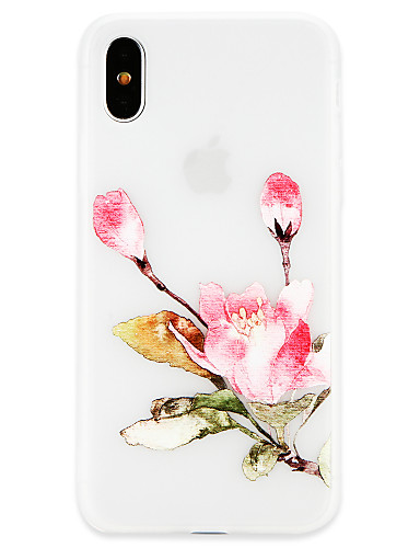 Etui Til Apple iPhone X / iPhone 8 Plus / iPhone 8 Ultratynn Bakdeksel Blomsternål i krystall Myk TPU
