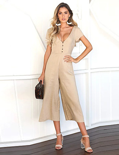 4c006d84f998 Women s Party   Going out Deep V Black Army Green Khaki Wide Leg Slim  Jumpsuit