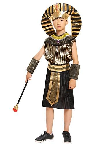 povoljno Maske i kostimi-faraon Izgledi Kostim Dječji Dječaci Drevni Egipt Halloween Božić Halloween Karneval Festival / Praznik Polyster Crn Karneval kostime Jednobojni Halloween / Šeširi / Neckwear