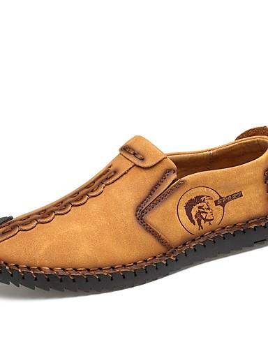billige Shoes & Bags Must-have-Herre Lærsko Gummi / Lær Vår sommer En pedal Pustende Svart / Gul / Kakifarget / utendørs / Mokasin / Kjøresko
