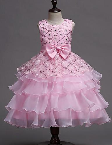 preiswerte Kinder Mode-Kinder Mädchen Süß Party Alltag Patchwork Schleife Mehrlagig Patchwork Ärmellos Kleid Weiß