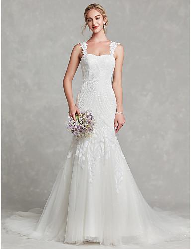 cheap Wedding Dresses-Mermaid / Trumpet Wedding Dresses Square Neck Court Train Lace Satin Tulle Regular Straps Romantic Illusion Detail with Beading Appliques 2020
