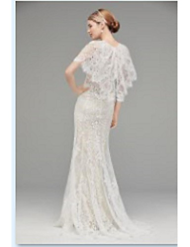 8693d5e1576 Sheath   Column Jewel Neck Sweep   Brush Train Lace Made-To-Measure Wedding  Dresses with Appliques by LAN TING BRIDE®   See-Through 6792054 2019 –   599.99