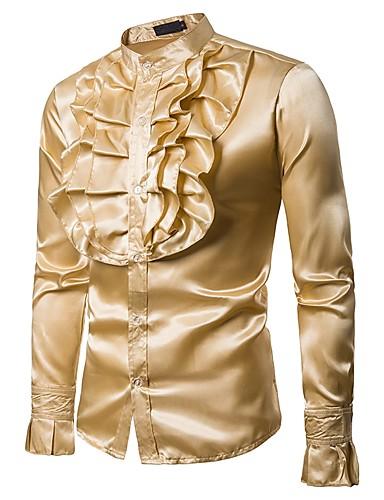 levne Pánské košile-Pánské - Jednobarevné Párty / Klub Vintage / Základní Košile, Volány Stojáček Žlutá / Dlouhý rukáv