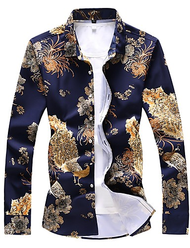 cheap White Shirts-Men's Daily Shirt Floral Animal Print Long Sleeve Slim Tops Basic Navy Blue / Spring / Fall
