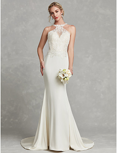cheap Wedding Dresses-Mermaid / Trumpet Halter Neck Court Train Chiffon / Lace Regular Straps Sexy Illusion Detail / Backless Wedding Dresses with Beading / Appliques 2020