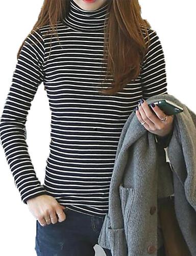 billige Dametopper-Tynn Rullekrage T-skjorte Dame - Ensfarget / Stripet Vintage / Gatemote Ferie Svart / Vår / Høst