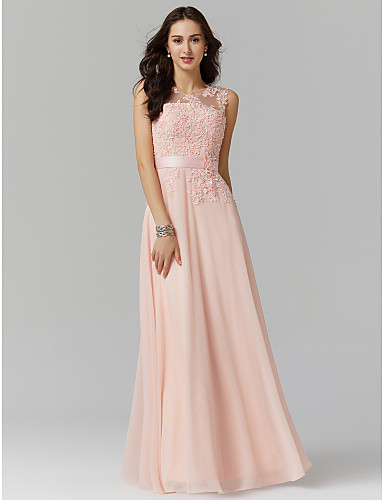 9b9c299f A-Line Jewel Neck Floor Length Georgette / Beaded Lace See Through Prom / Formal  Evening Dress with Beading / Appliques by TS Couture® 2019088 2019 – $55.99