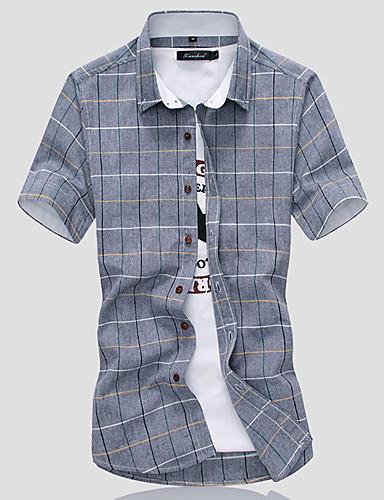 preiswerte Ausverkauf-Herrn Geometrisch Baumwolle Hemd Weiß / Kurzarm