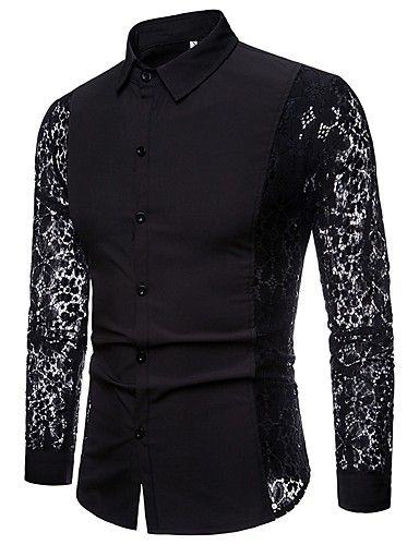 cheap White Shirts-Men's Daily Shirt Solid Colored Lace Cut Out Patchwork Long Sleeve Tops Luxury Basic Sexy White Black / Club