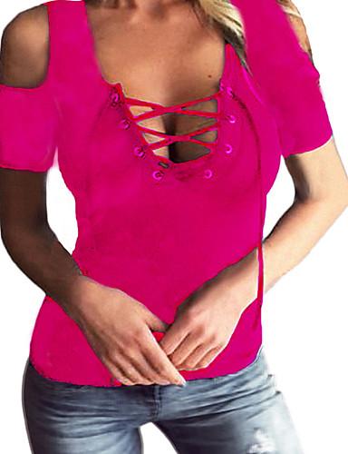 billige T-skjorter til damer-Bomull Dyp V T-skjorte Dame - Ensfarget, Utskjæring / Blondér Fuksia / Sexy